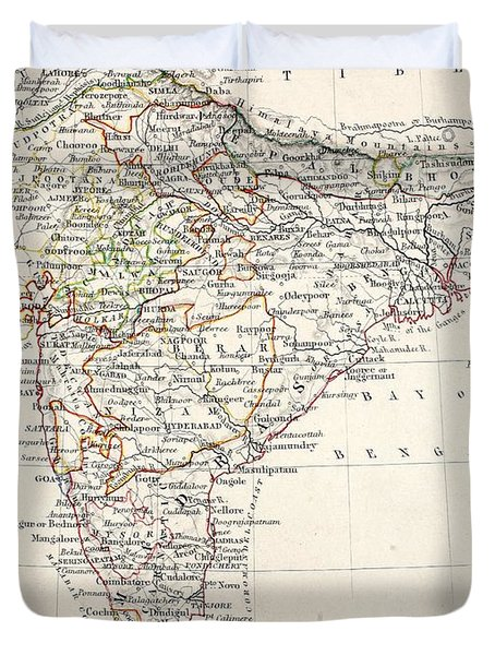 Map Of India Duvet Cover by Alexander Keith Johnson