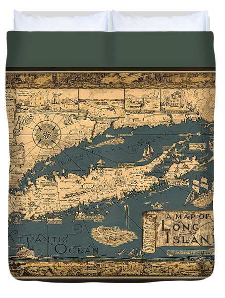 Map Of Long Island Duvet Cover