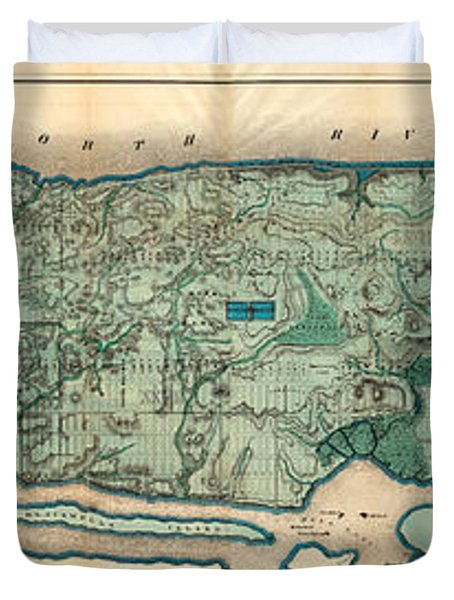 Map Of Manhattan Duvet Cover