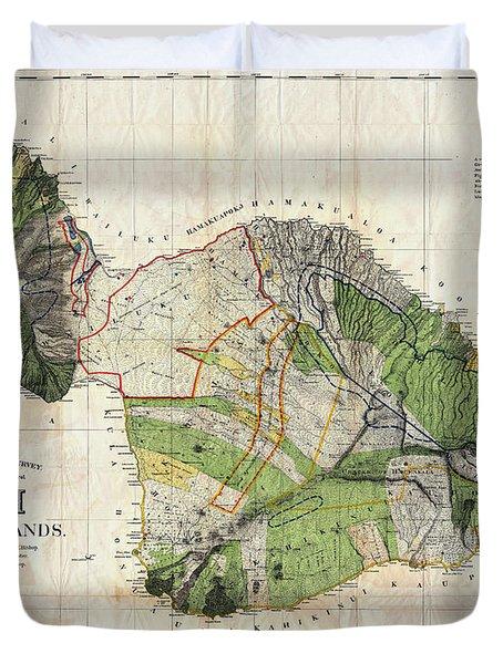 Map Of Maui 1885 Duvet Cover
