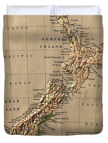 Map Of New Zealand 1880 Duvet Cover