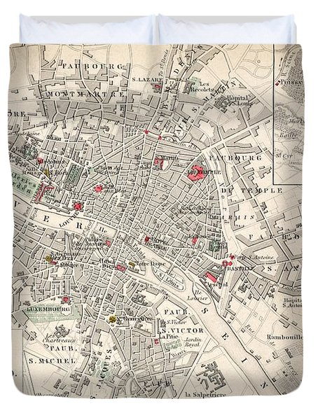 Map Of Paris At The Outbreak Of The French Revolution Duvet Cover by French School