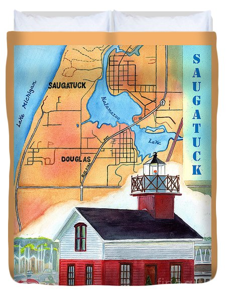 Duvet Cover featuring the painting Map Of Saugatuck by LeAnne Sowa