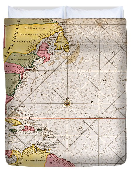 Map Of The Atlantic Ocean Showing The East Coast Of North America The Caribbean And Central America Duvet Cover by French School