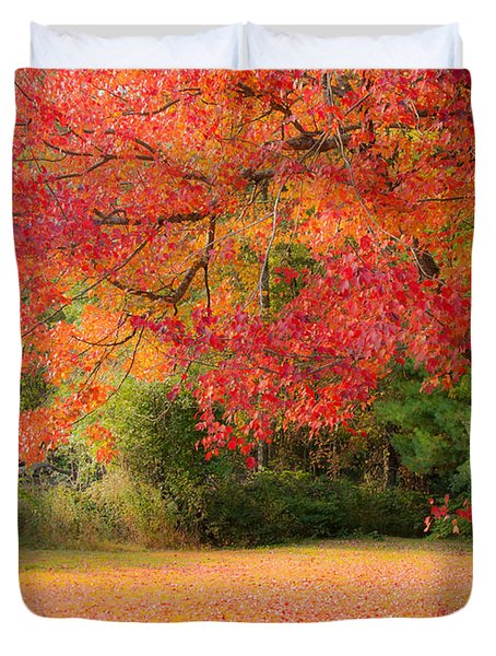 Maple In Red And Orange Duvet Cover