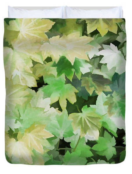Duvet Cover featuring the photograph Maple Leaves Green by Jennie Marie Schell