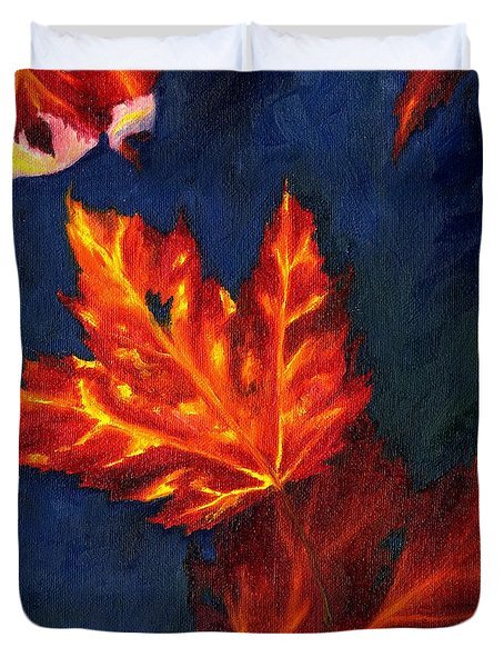 Maple Leaves In Autumn Duvet Cover