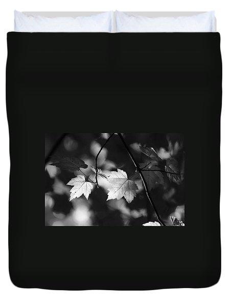 Maple Leaves In Black And White Duvet Cover