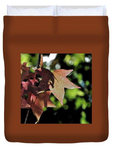 Maple Leaves Ink Outline Duvet Cover