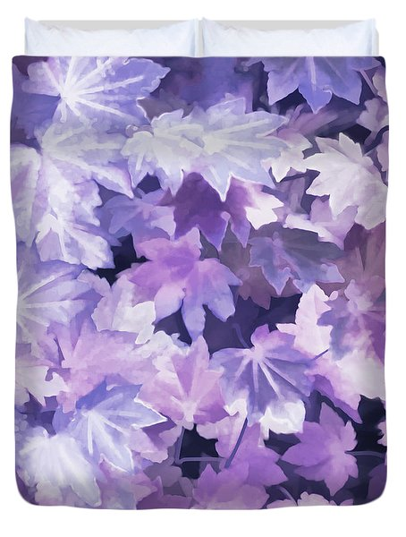 Duvet Cover featuring the photograph Maple Leaves Purple Abstract by Jennie Marie Schell