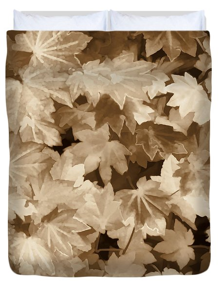 Maple Leaves Sepia Duvet Cover