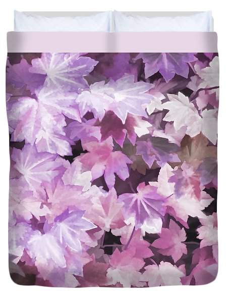 Duvet Cover featuring the photograph Maple Leaves Violet Abstract by Jennie Marie Schell