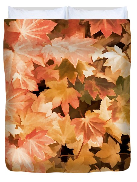 Duvet Cover featuring the photograph Maples Leaves Autumn Orange by Jennie Marie Schell