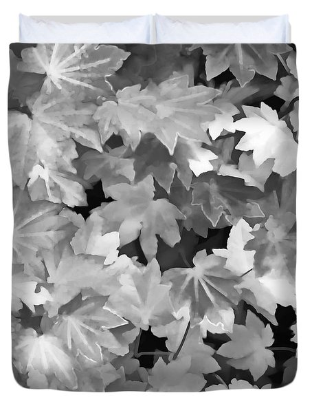 Duvet Cover featuring the photograph Maples Leaves Black And White by Jennie Marie Schell