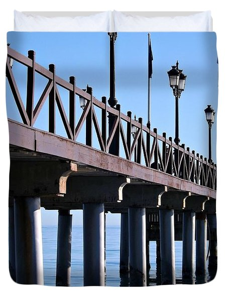 Duvet Cover featuring the photograph Marbella Pier Spain by Clare Bevan
