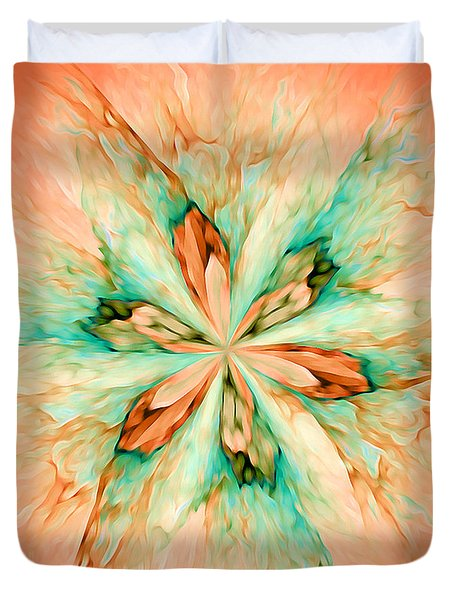 Duvet Cover featuring the digital art Marble Flower - Optimistic Art By Giada Rossi by Giada Rossi