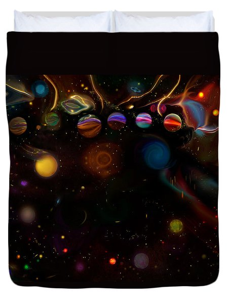 Duvet Cover featuring the digital art Marble Galaxy by Adria Trail