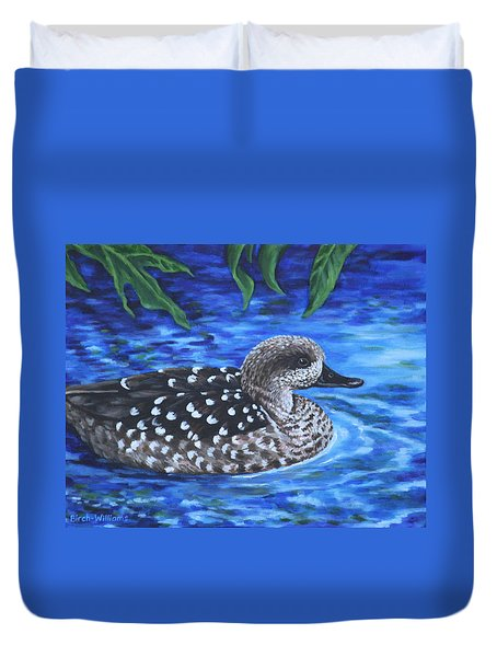 Marbled Teal Duck On The Water Duvet Cover by Penny Birch-Williams