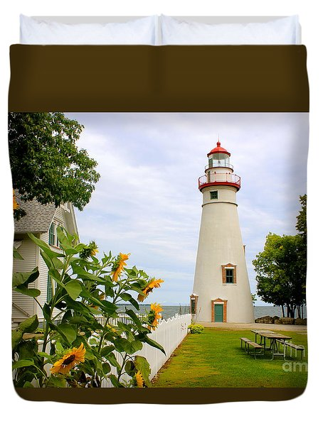 Marblehead Lighthouse Duvet Cover by The Art of Alice Terrill