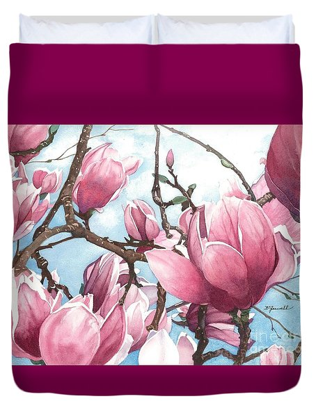 Duvet Cover featuring the painting March Magnolia by Barbara Jewell