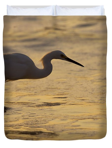 March Of The Egret Duvet Cover