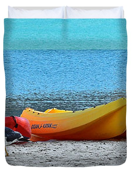 Duvet Cover featuring the photograph March Of The Seagull by Christine Till