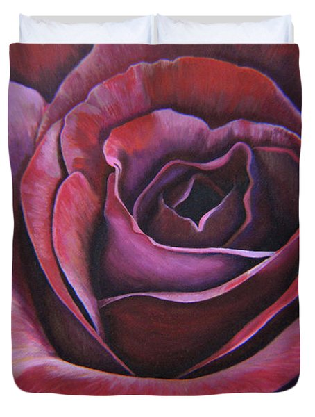 Duvet Cover featuring the painting March Rose by Thu Nguyen
