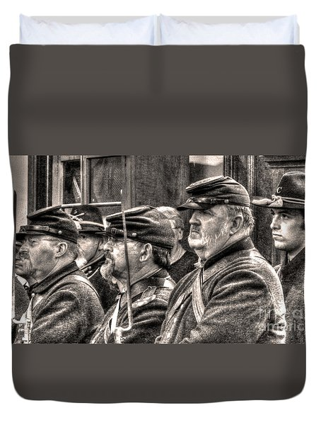 Duvet Cover featuring the digital art Marching Orders by William Fields
