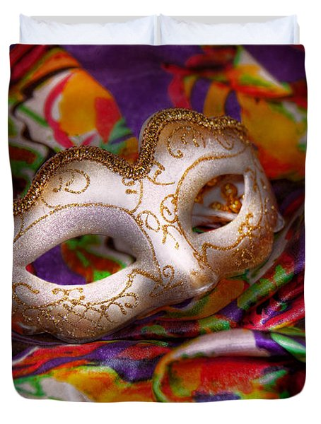 Mardi Gras - Celebrating Mardi Gras  Duvet Cover by Mike Savad