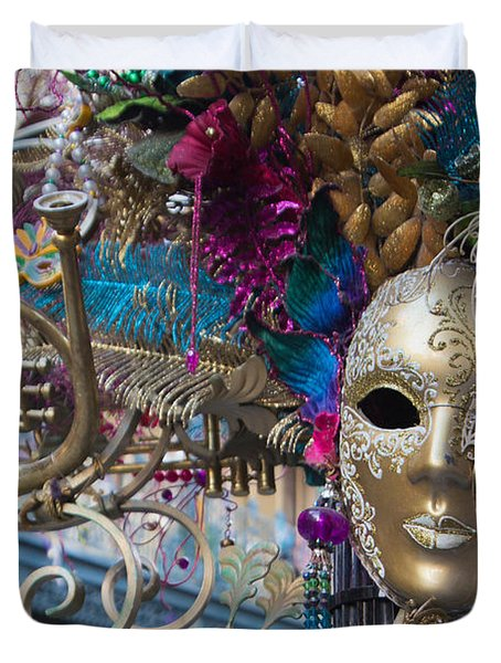 Mardi Gras Mask Duvet Cover by Heidi Smith