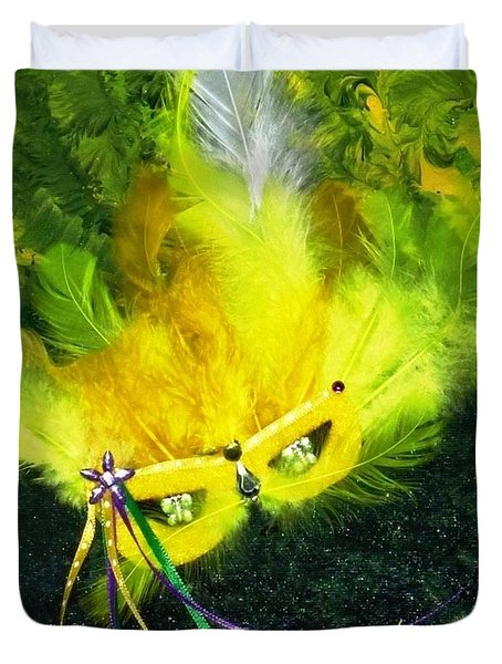 Duvet Cover featuring the painting Mardi Gras On Green by Alys Caviness-Gober