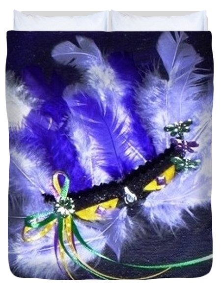 Duvet Cover featuring the painting Mardi Gras On Purple by Alys Caviness-Gober