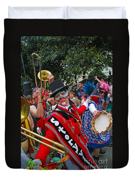 Mardi Gras Storyville Marching Group Duvet Cover