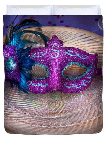 Mardi Gras Theme - Surprise Guest Duvet Cover by Mike Savad