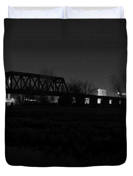 Margaret Hunt Hill Bridge Dallas Skyline Black And White Duvet Cover by Jonathan Davison
