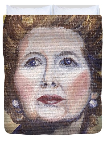 Margaret Thatcher Two Duvet Cover by Linda Mears