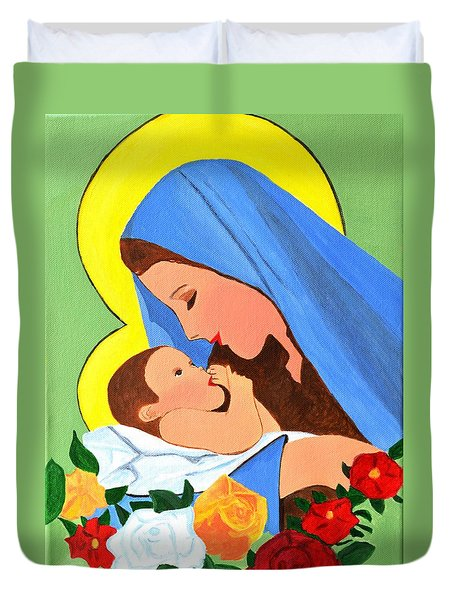 Duvet Cover featuring the painting Maria And Baby Jesus by Magdalena Frohnsdorff
