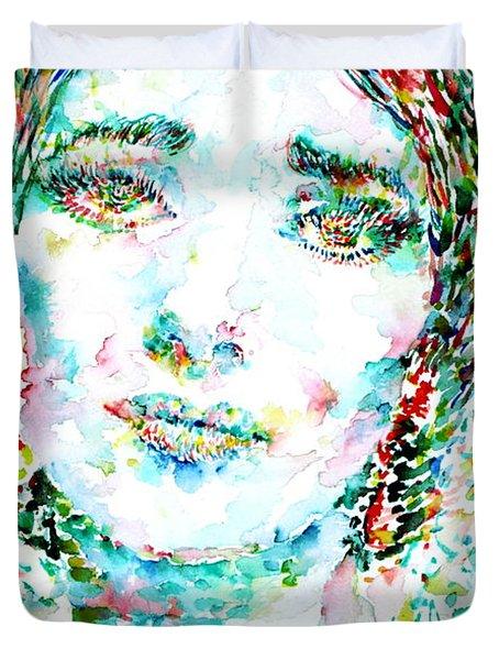 Maria Callas - Watercolor Portrait.1 Duvet Cover