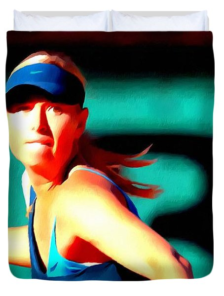 Maria Sharapova Tennis Duvet Cover by Lanjee Chee