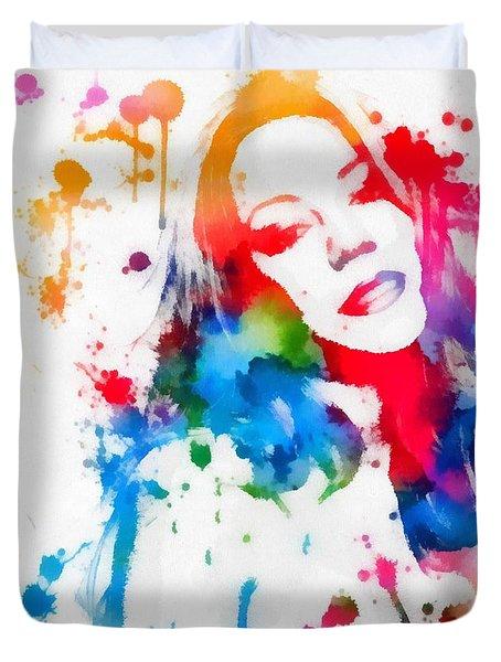 Mariah Carey Watercolor Paint Splatter Duvet Cover