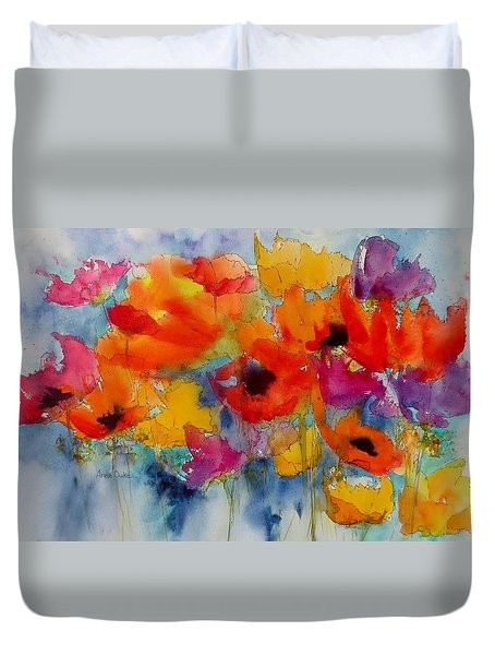 Duvet Cover featuring the painting Marianne's Garden by Anne Duke