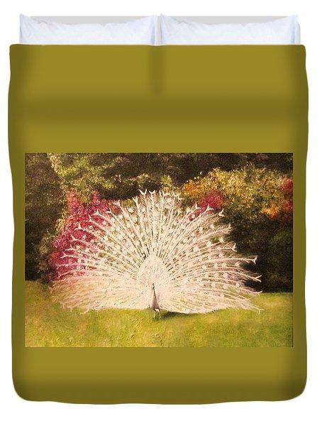 Maria's White Peacock Duvet Cover
