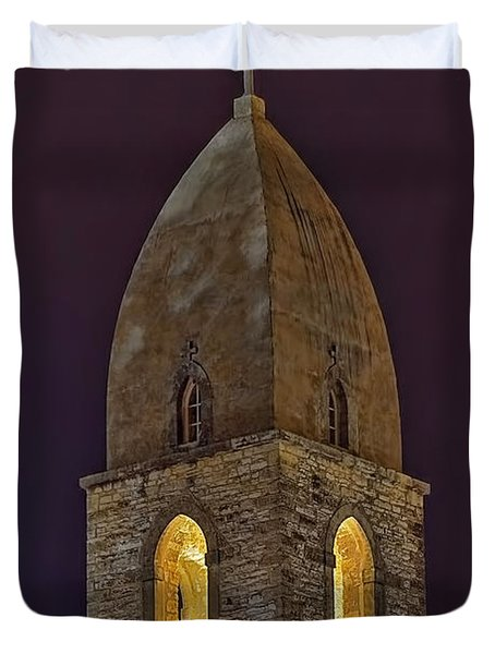 Marienkirche At Night Duvet Cover by Gary Holmes