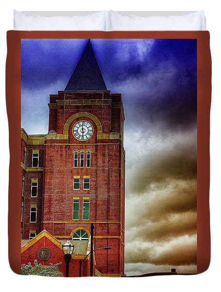 Duvet Cover featuring the photograph Marietta Clock Tower by Dennis Baswell