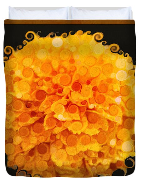 Marigold Magic Abstract Flower Art Duvet Cover