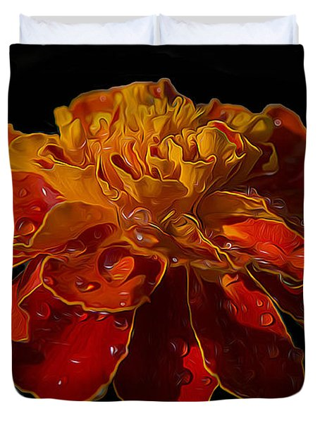 Marigold Tagetes Duvet Cover by Michael Moriarty