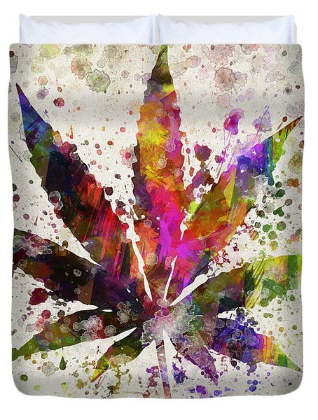 Marijuana Leaf In Color Duvet Cover