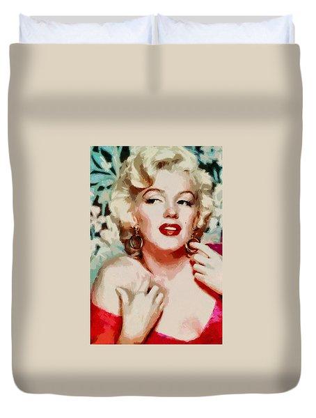 Marilyn Monroe In Red Dress Duvet Cover