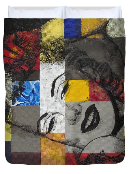 Duvet Cover featuring the painting Marilyn In Abstract by Malinda  Prudhomme