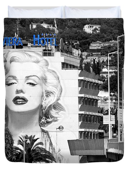 Duvet Cover featuring the photograph Marilyn In Cannes by Jennie Breeze